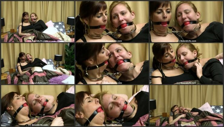 Two Girls Neck Cuffed and Gagged in Bed