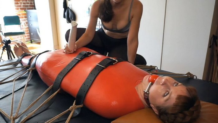 Mummified Sexy Red Head Barbary – Tickle Torture to Orgasm