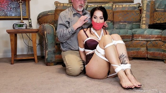 Stripped to Her Bra and Panties Raven Eve Progressively Tied Up