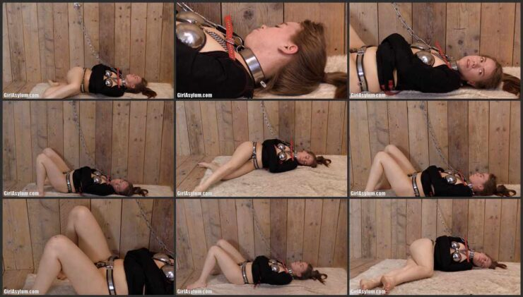 Chained  Josie in Chastity Bra and Black Straitjacket