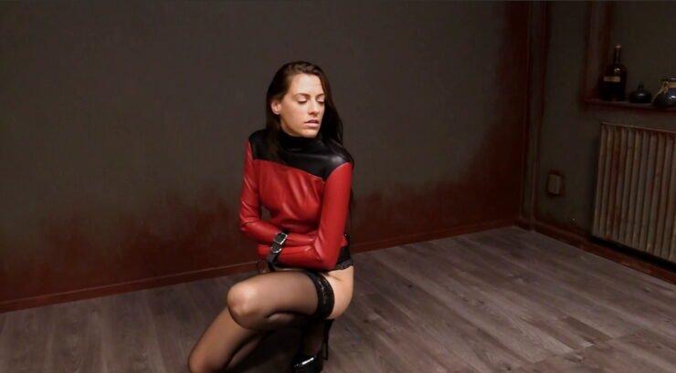 Long Legged Britney Used New Red Leather Straitjacket