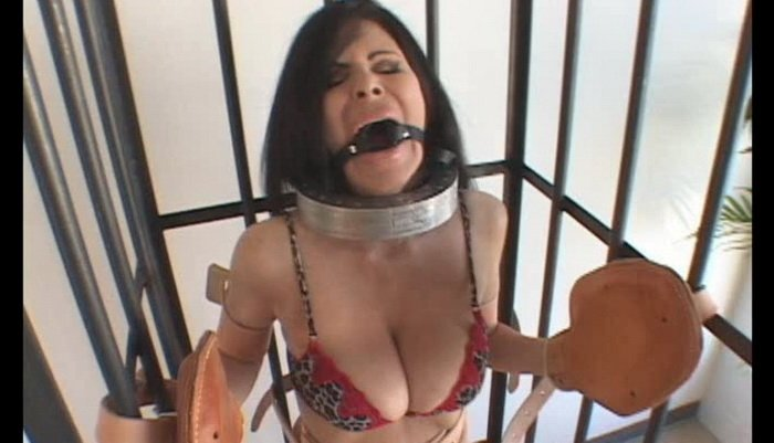 Bound and Caged by Leather Bondage Straps