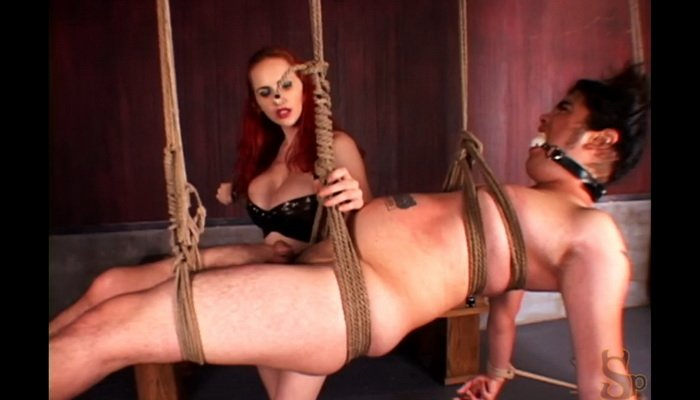 On Rope Suspension Powerless Slave, Goddess Clamps on His Cock and Balls
