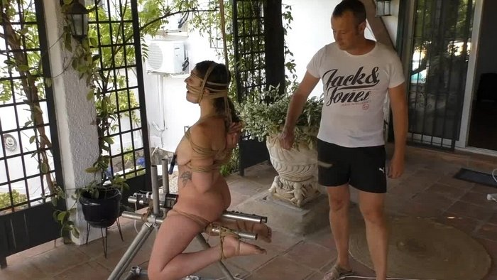 British Submissive Little Red Girl in Sasoris Rope Outdoors