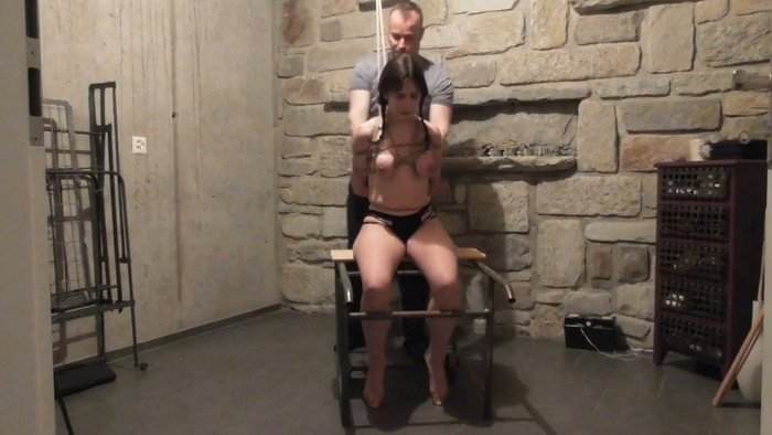 Little Red Girl in the dungeon rope bound and hooded part 1