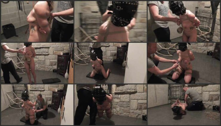 Little Red Girl in the dungeon rope bound and hooded part 2