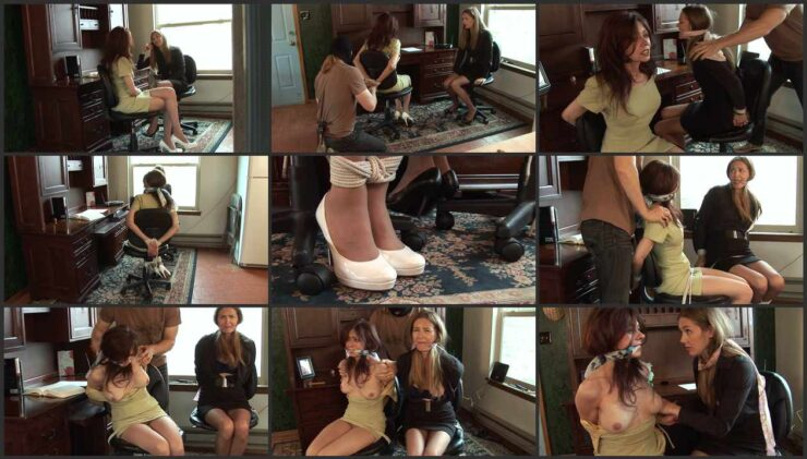 Fondling the tied up helpless captives Natasha & Star