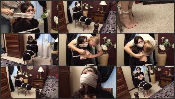 Natasha is a victim of a home invasion helpless, bound and gagged