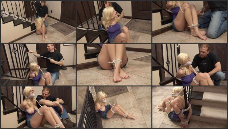 Blonde Danielle topless, bound and gagged
