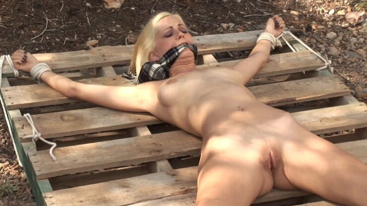 Danielle Totally Nude and Tied In Woods