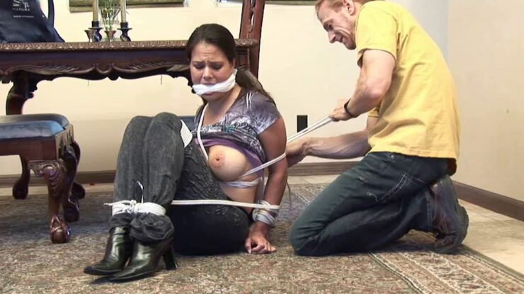 Hawaiian Brunette Julia Gagged and with Bound Sexy Boots