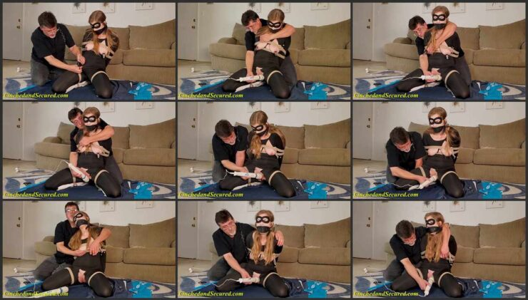Tightly Frog-tied Catburglar Candace with a Cruel Gag is Kept Cumming