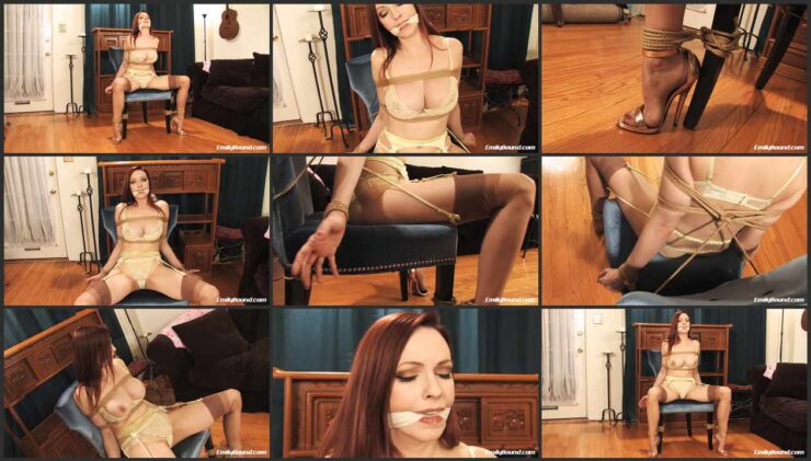 Bondage plaything with legs are spread on the chair