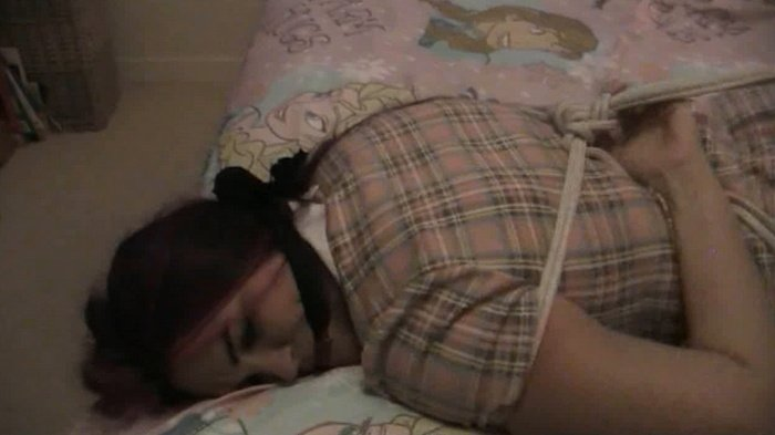 New Babysitter is face down tied on the bed part 1