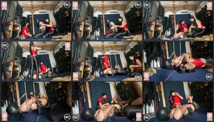 HBC X TBL; Leather Pants and Mask Asian Tied Girl Gets Punished by 2 Mistresses