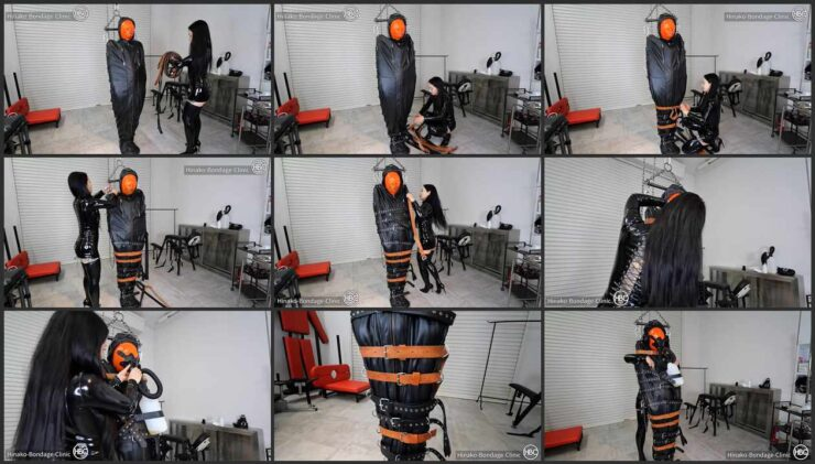 Rest Sack Slave with blindfold and Suspension with Sensory Deprivation and Piss Inhalation