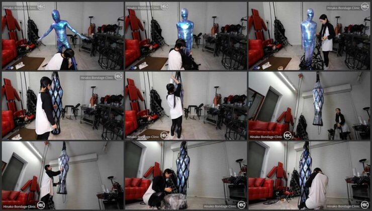 Mummification Leather Bag Suspension Slave in Shiny Suit