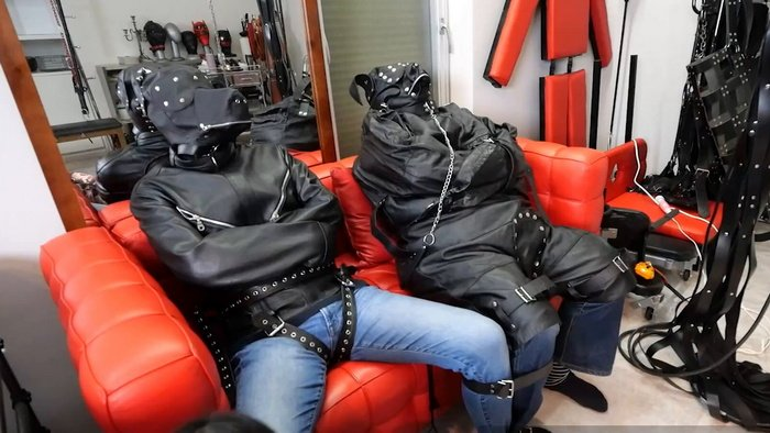 Two Slaves in doggy-suited and leather straitjackets vibed by Hinako in Pajamas