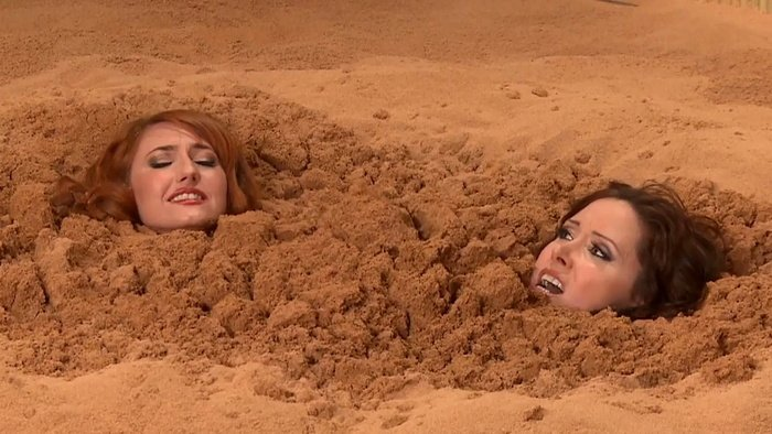 O-girl and Nylonika in quicksand trap. Chp 14-15. wmbcv-0536