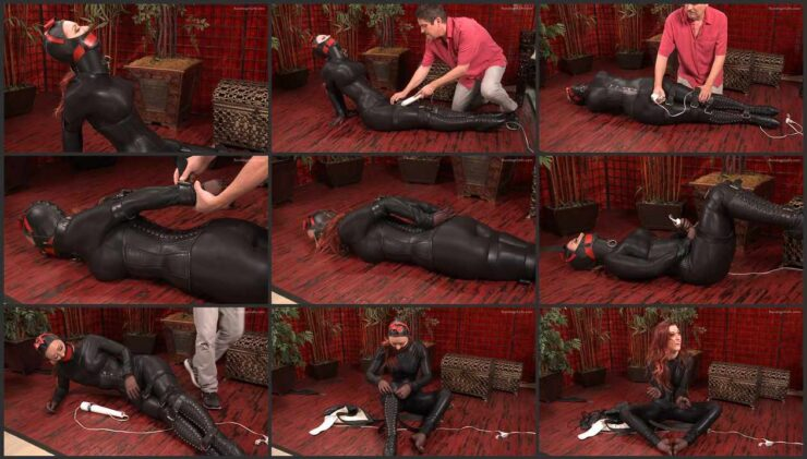 Karlie struggling to the last in super sexy leather suit. wmbcv-1016