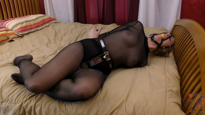 Summer into a chastity belt, gagged and handcuff hogtie