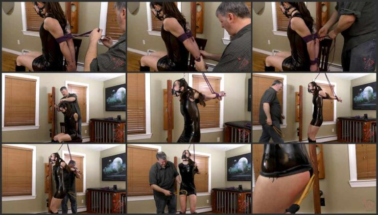 A strappado predicament for Hannah a treat which her will love