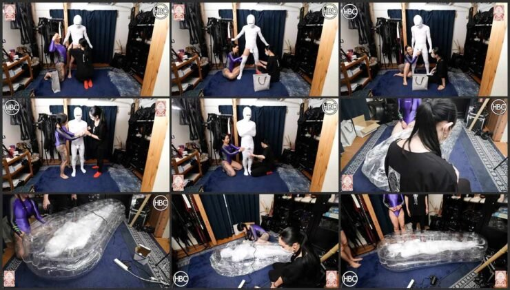 Hinako and Chiaki wrapped entirely in white gauze her slave