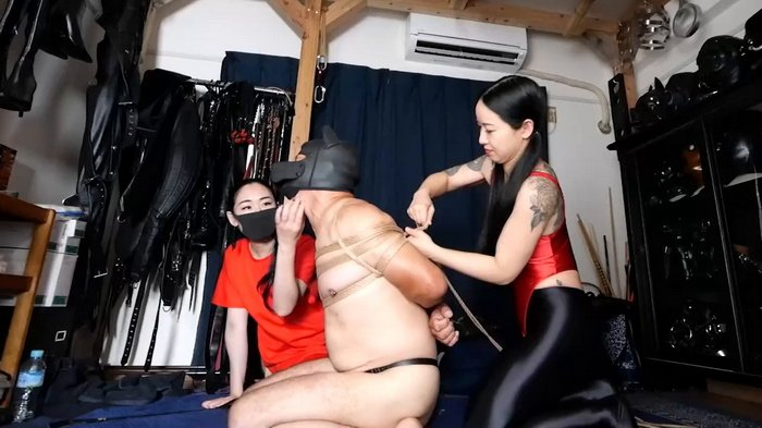 Three Mistress tied up slave in doggy suit