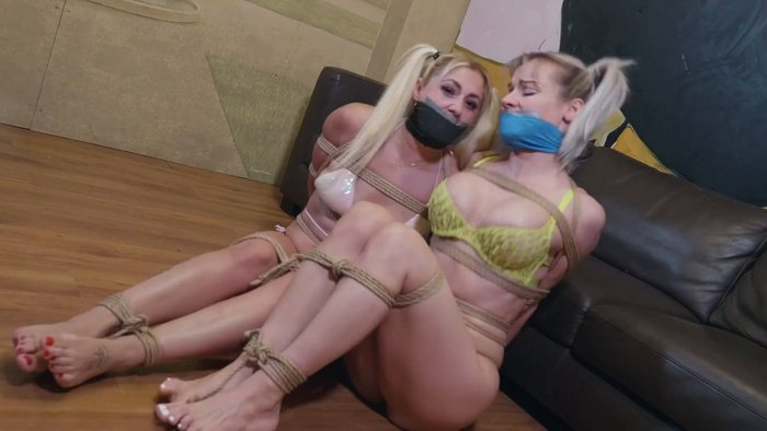 Two girls tied up and ballgagged