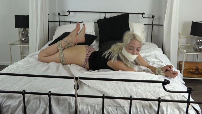 Liz in a frogtie position and gag from panty. Episode 2