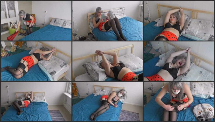 College girl is zip tied to the bed gagged