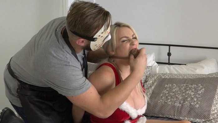 Penny Lee in sexy costume leav all tied up alone for Christmas
