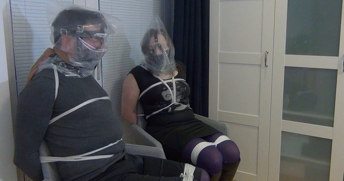The burglars tied up Maggie and her husband on a chairs in pantyhose and gagg