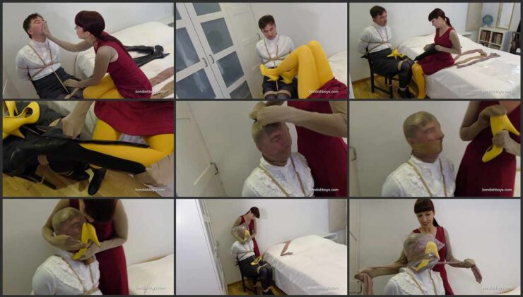 Hard femdom Renee on the chairtied  in leatherboots