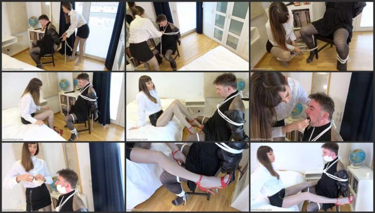Submissive boy bound and learns restraint