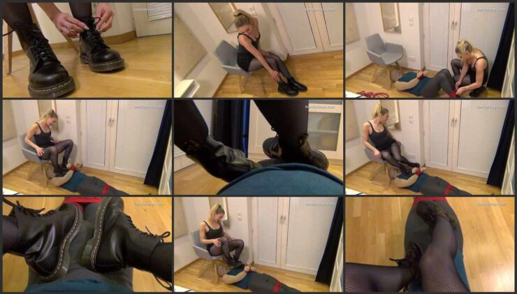 Bondage & footjob with Larissa in Doc Martens boots and fishnet tights