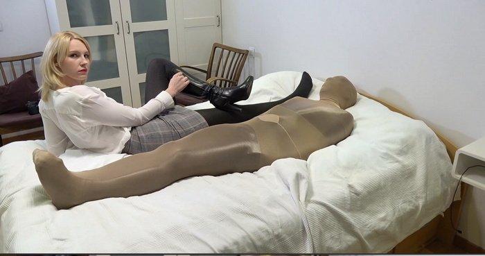 So perfect mummify naughty student in nylon