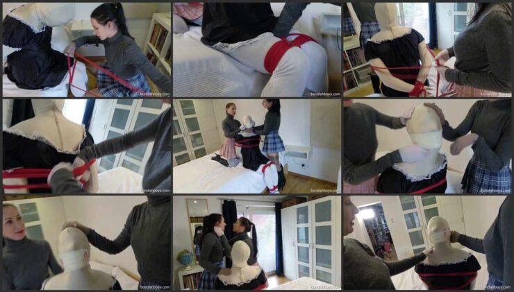 Sandra and Paula strap her slave