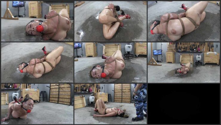 Naked Asiana hogtied roped on the dirty wet floor. Part 2
