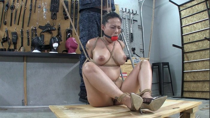 Super tight crotch rope and big gag in my mouth on my naked body Part 1