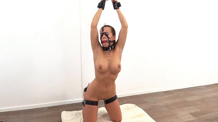 Cindy nervous with suspension cuffs and strapped legs