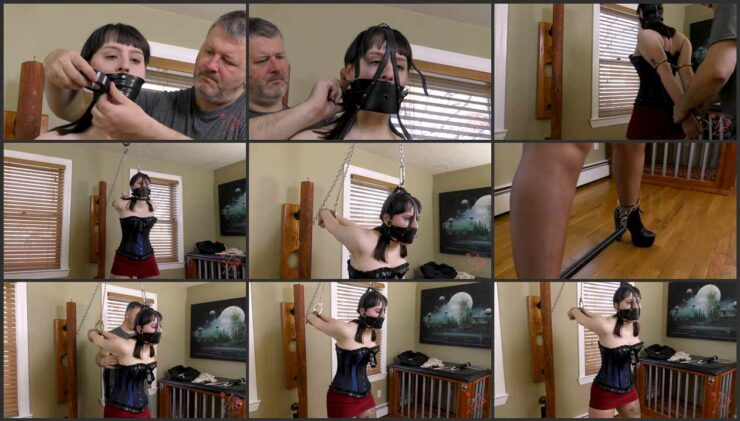Handcuffs, strappado, spreader bar and tape gag for Jane's first visit