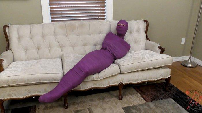 Lola tries to escape mummified in purple veterinary tape