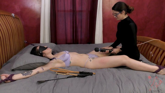 Lily ties Joy with ropes, blindfolds and teases with a magic wand