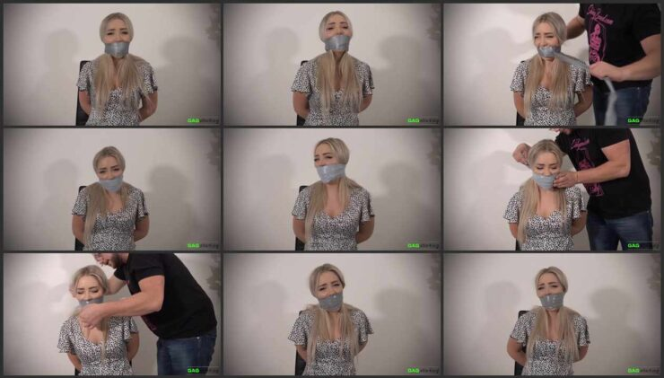 Aubrey grabbed and gagged with three shades of gray tape