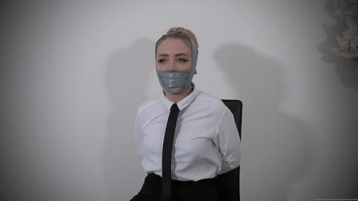 Aubrey gets heavy silver PVC tape gag on her face