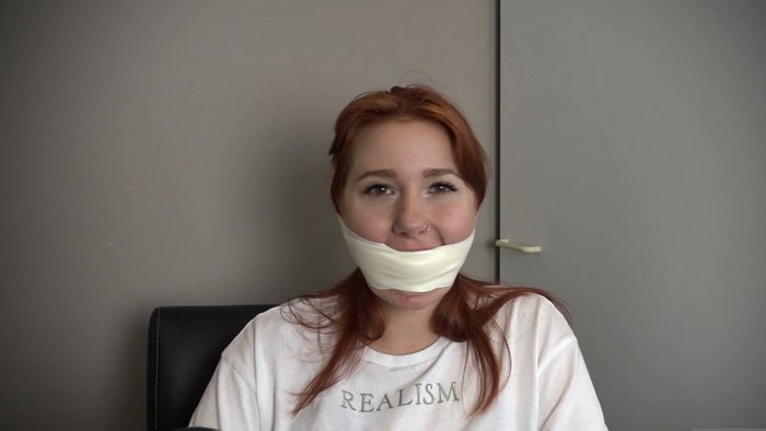 Foxy decides to give you a closer look in Microfoam tape gagged