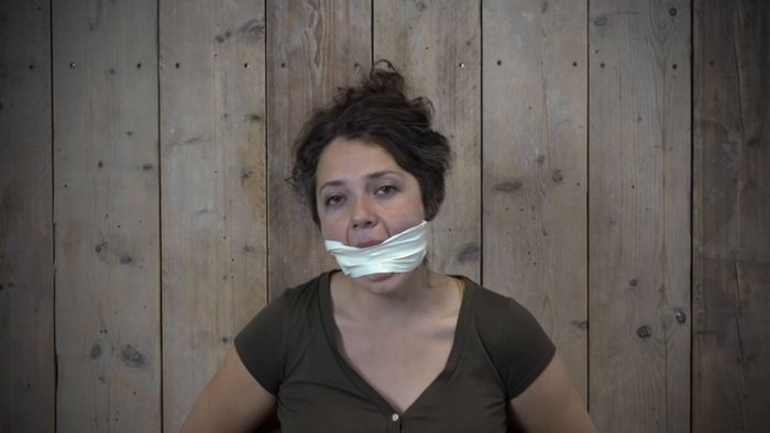 Gag with 3″ Microfoam tape then a sock and tape. 2 video with Julia