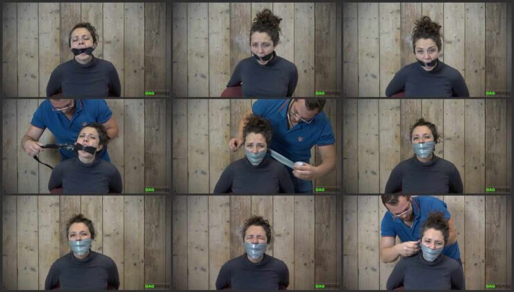 2 Gag Video with Julia. She is tied to a chair and cannot make sounds through a tight gag