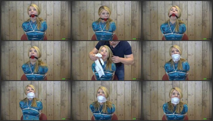 Lolly is bound and her mouth gagged a thin white OTM gag, after used 56mm ballgag